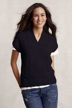 Lands End Canvas Cap Sleeve Cable Sweater in Navy