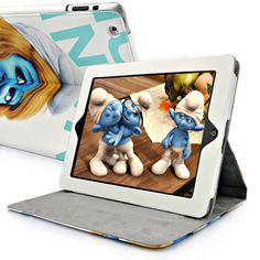 The Smurfs Cute Smurfette Leather Stand Case For The new iPad/iPad 2  PriceUS $13.98 Apple Ipad Accessories, Smurfette, New Ipad, Ipad Case, Smurfs, Cute, Leather, Kawaii
