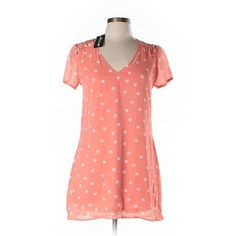 Xtaren Short Sleeve Blouse ($12) ❤ liked on Polyvore featuring tops, blouses, orange, orange top, short sleeve tops, red blouse, red top and short sleeve blouse
