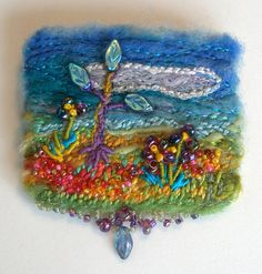Fiber Brooch-  Tree of LIfe Felted Fiber and Beaded Brooch