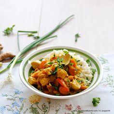 Hühnercurry mit Karotten Ethnic Recipes, Food, Carrots, Meat, Easy Meals, Food Food, Essen, Meals, Yemek