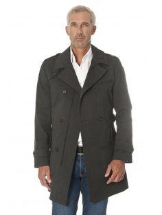 Trench-coat en polycoton gris