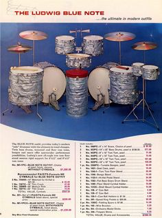 """The ultimate in modern outfits."" Ludwig's Blue Note double-bass set, from the 1967 catalog. Two 14"" x 22"" bass drums, 8"" x 12"" and 9"" x 13"" small toms (mounted on a single floor stand), plus 16"" x 16"" and 16"" x 18"" floor toms. And don't forget the canister throne and bongos! Love the sky blue pearl finish, as well."