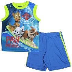 Nick Jr Paw Patrol Off Duty Blue Sublimated Tank Top With Blue Athletic Shorts Sizes 2T 3T 4T Made From 100% Polyester Label Nick Jr Paw Patrol Officially Licensed Nick Jr Paw Patrol Toddler Clothes #PawPatrol