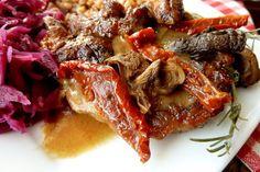 Leśna karkówka z grzybami i suszonymi pomidorami Steak, Food, Essen, Steaks, Meals, Yemek, Eten