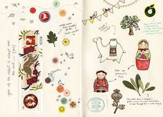 Sketchbook layout by Afsaneh (a TO artist) Sketchbook Layout, Sketchbook Drawings, Sketchbook Inspiration, Drawing Sketches, Sketching, Pen Illustration, Sketch Painting, Painting Tips, Art Journal Pages