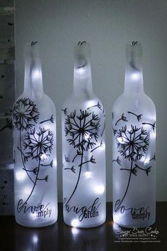 I have had this project in mind for several months. I finally bit the bullet and… I have had this project in mind for several months. I finally bit the bullet and did it. Honestly, I could do without the painting, but I l… Glass Bottle Crafts, Wine Bottle Art, Painted Wine Bottles, Lighted Wine Bottles, Diy Bottle, Bottle Lights, Bottles And Jars, Christmas Wine Bottle Craft, Wine Bottle Lighting