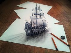While sailing through my 3d imagination. Ink and pencil on 3 sheet of 220 gram paper. An amazing illusion