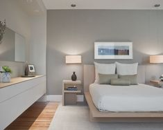 Dove grey and white walls, beech wood and white furniture... Simple colours for a minimalist room.