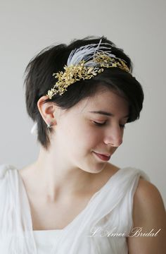 Shop for bridal headpiece on Etsy, the place to express your creativity through the buying and selling of handmade and vintage goods. Pulling Weeds, Bridal Hair Vine, Bridal Headpieces, Gothic Fashion, Halo, Feather, Ivory, Trending Outfits, Unique Jewelry