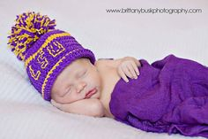 LSU knit baby cap with pompom!As much as I hate this, nothing would give me more happiness to see my love's face..