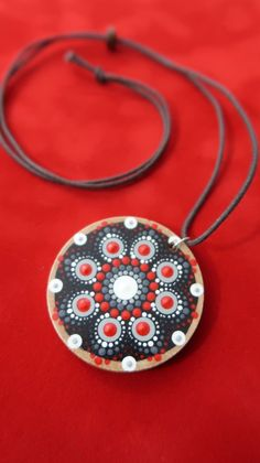 Mandala Pendant Necklace by Lydia May Dot Art Red Hand Painted