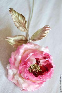 Купить Цветы из шелка Брошь Роза Августа - роза ручной работы, роза из шелка