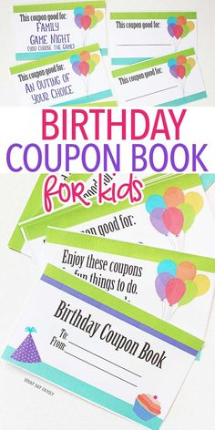Printable birthday coupon book for kids! These coupons make the perfect gift - let kids enjoy experiences instead of more toys. Totally customizable for parents, siblings, grandparents, or friends - these coupons work for everyone! Birthday Coupons, Birthday Gifts For Boys, Birthday Ideas, Birthday Book, Birthday Parties, Birthday Presents, Birthday Signs, Birthday Crafts, Birthday Celebration