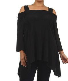Another great find on #zulily! Black Cutout Sidetail Tunic - Plus by Come N See #zulilyfinds