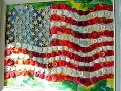 """Seen at the 2009 Trash To Treasure IX show :  """"Button Flag"""" Assemblage - tissue paper, buttons, wood, acrylic paint Jeanne Cvitkovich  I LOVE LOVE this one.  Great job Jeanne!  ♥  Show is up until July 31,  2009 in Hammond, Indiana."""