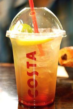Iced Peach Tea at Costa Coffee Cafe, Coffee Drinks, Coffee Shops, Iced Coffee, Costa Cafe, Cafe Gelato, Homemade Iced Tea, Peach Ice Tea, Iced Tea Recipes