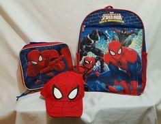 b673dec3d7e Spiderman BACKPACK Book Bag LUNCH BOX And HAT BONUS!  Marvel  Backpack