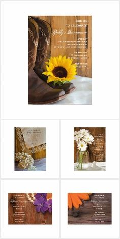 #Rustic #Quinceanera #Invitations Invite guests to an informal yet elegant sweet fifteen party for your daughter with a charming Rustic Quinceanera Invitation. These casual and classy quince party invites feature images of weathered brown barn wood, western cowboy boots, vintage lace, sunflowers or daisies.