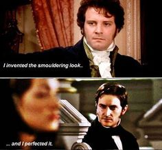 Colin Firth as Mr Darcy - Pride and Prejudice. Richard Armitage as John Thornton - North and South. Wonderful smouldering men