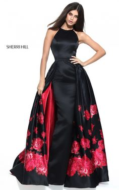 Halter Black Red Print Sherri Hill 51193 Fitted Long Prom Dress