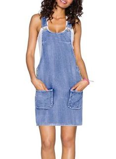 Wash Jeans Strap Buttons Jumper Denim Overall Dress with Pocket. Denim overall in mini-dress cut. Classic denim overall dress. Sleeveless Outfit, Belted Shirt Dress, Maxi Dress With Sleeves, Denim Romper, Romper Dress, Jean Overall Dress, Vintage Denim, Women's Fashion, Ladies Fashion