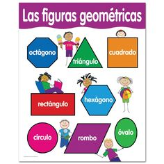 "This chart includes 4 reproducibles on the back to reinforce learning! x 21 ⅜ "" Learn Spanish Free, Learning Spanish For Kids, Learn Spanish Online, Spanish Games, Spanish Class, Early Learning, Shape Chart, Learning Sight Words, Creative Teaching Press"
