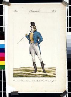 Incroyable et Merveilleuse; Incroyable No 5; Chapeau a la Robinson. Cheveux a l'Enfant. Pantalon de Tricot, Bottes a la Hussarde. | Horace Vernet | 1814