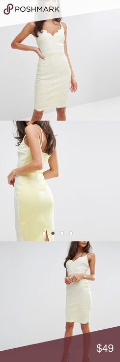 ASOS Excusive - Lipsy Scalloped Midi Dress Worn once. Brand is LIPSY. Scuba Material. No signs of wear. US size 2, UK size 6 ASOS Dresses Midi