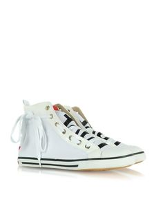 Love Moschino - High Top Fabric and Patent Leather Sneaker - White fabric and patent leather exude feminine originality and sweet allure. This heart and signature printed high-tops add just the right glimmer to your glamour. Signature box included. Made in Italy.