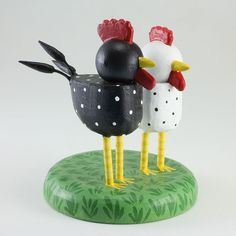 Chicken+and+Rooster+Wedding+Cake+Topper+by+bunnywithatoolbelt,+$145.00