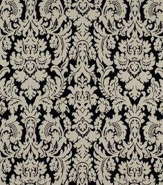 Home Decor Fabric-Robert Allen Bhuj Damask Black White Fabric