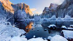 snowy mountain lake wallpaper