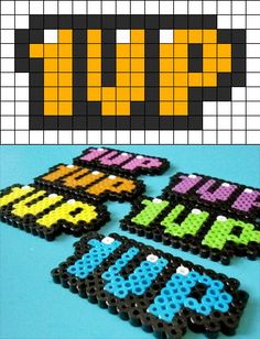 1up bead pattern. 16 beads wide by 8 beads high. 63 black, 3 white, 48 any other color. Source: http://kandipatterns.com/patterns/misc/1up-3763 and https://www.etsy.com/transaction/100118865?