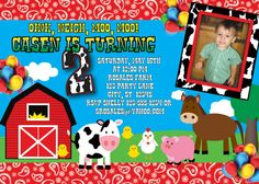 Farm Barnyard Birthday Invitation MellysHandmades on Etsy
