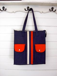 Vintage 1970s Striped Navy and Red Canvas Tote by GypsylandVintage