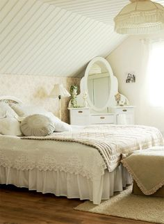 Summer on the Farm. The guestroom is all white with a light comforter for cool evenings................