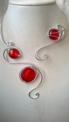RED MODERN NECKLACE - Open necklace, Aluminium wire necklace,