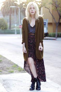 boho, green cardigan, high-low skirt, tshirt, combat boots