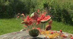 Exploding watermelon using rubber bands