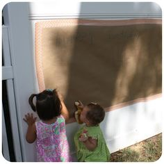 Coloring wall  Great toddler birthday activity