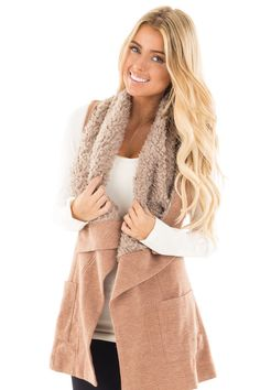 Lime Lush Boutique - Cocoa Waterfall Drape Vest with Faux Fur Trim, $59.99 (https://www.limelush.com/cocoa-waterfall-drape-vest-with-faux-fur-trim/)