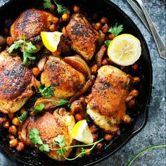 One Pot Harissa Chicken with Chickpeas and Yogurt is a fuss free dish that's easy to make. It features the delicious flavor of spicy, fragrant harissa.