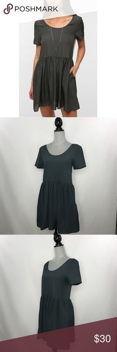 """Sparkle & Fade Silky babydoll dress Cute simple and flowy babydoll dress. Has side seam pockets. Neckline to hem 32"""", underarm to underarm 17"""" (34""""). Urban Outfitters Dresses"""