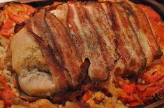Kalkunbryst med bacon, rødt grønt og bulgur i Römertopf