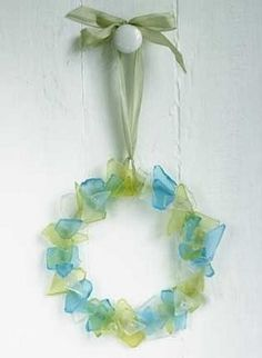 Seaglass ornament. I have so much sea glass the prom now is putting holes into them.
