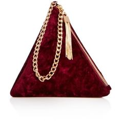 Street Level Prism Velvet Wristlet (150 RON) ❤ liked on Polyvore featuring bags, handbags, clutches, purses, street level purse, wristlet purse, wristlet handbag, red wristlet and red purse