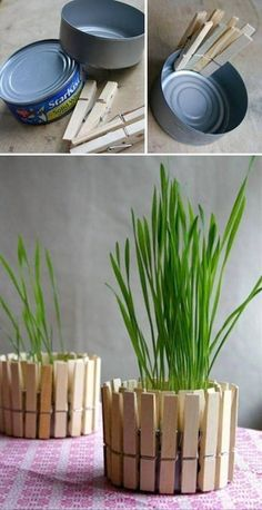 Planter Made From Recycled Products - Use old shallow tins (wash before use), and attach plain wooden pegs around the tin. Pop in a plant and you're done. A perfect little DIY project!