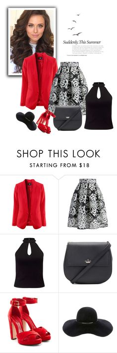 """""""Red and black set"""" by hedija-okanovic ❤ liked on Polyvore featuring Chicwish, Miss Selfridge, Kate Spade, Alexander McQueen and Eugenia Kim"""