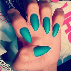 Matte Green Emerald Nails.